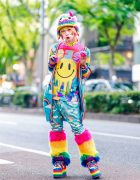Harajuku Fashion Walk Organizer in Mixed Prints Rainbow Streetwear Style w/ Furry Monster Hat, Galaxxxy, 6%DokiDoki, New Era, Dolls Kill Furry Leg Warmers & YRU Rainbow Platforms