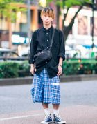 Comme des Garcons Homme Plus Street Style in Harajuku w/ Button Down Shirt, Plaid Shorts, Gucci, Chanel, Alexander McQueen & Converse Sneakers