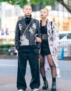 Harajuku Duo in Monochrome Streetwear & Shaved Heads, Black Lipstick, Undercover, Kobinai,, Oh Pearl & Yosuke