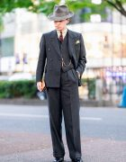 Dapper Tokyo Street Fashion w/ Vintage 1940's Stetson Hat, Pocket Square, Bespoke Pinstripe Suit, Cuffed Pants & Lace-Up Dress Shoes