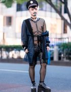 Japanese Pianist Composer in Harajuku w/ Glitter Mustache, Milkboy, Fishnets, House of Viviano Sue, Body Harness & Monster Shoes