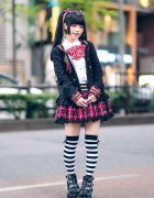 Gothic Punk Plaid Harajuku Street Style w/ Twin Tails, Putumayo Hoodie, Deorart Bow Top, Striped Socks, Hangry&Angry Backpack & Platform Boots