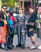 Japanese Teens Styles w/ Pink Hair, Purple Bangs, Braided Hair, Cat Eye Sunglasses, Vintage Dress, M.Y.O.B. Overalls, Remake Top, Leopard Print Blazer, Utility Vest, Louis Vuitton Bag & John Lawrence Sullivan Loafers
