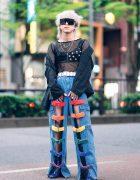 Handmade Japanese Streetwear in Harajuku w/ Ash Grey Hair, Layered Tops, Handmade Cutout Jeans w/ Rainbow Straps, Kawi Jamele & Bershka