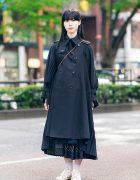 Japanese Minimalist Street Style w/ Junya Watanabe Pleated Trench Coat, Comme des Garcons Skirt, Asami Fujikawa, Miu Miu & Adidas