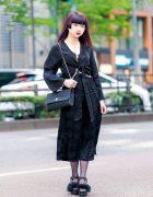 Japanese Designer in Harajuku w/ Wrap Dress, Dior Chain Purse, Shelly De Titi Harness & E Hyphen World Gallery BonBon Furry Sandals