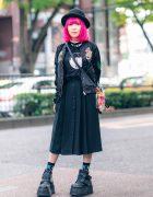 Pink Bob, Diesel Bomber Jacket, Hot Topic T-Shirt, Pleated Skirt, DC Comics Bag & Platform Shoes