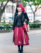 Japanese Two-Tone Fashion w/ Twin Half-Pink Tails, ACDC Rag Cutout Jacket, Ozz Croce Paneled Skirt, Queen Bee Baby Doll Shoes & Angelic Pretty Piano Bag