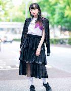 RinRin Doll in Harajuku Street Style w/ Satin Jacket, Michiko London Shirt, Rurumu Skirt, Pom Pom Earrings & Puma Sneakers