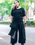 Body Modification Artist in Harajuku w/ Split Tongue, Tattoos, Stretched Ears, Aoi Clothing, Wide Leg Pants & Philipp Plein Sneakers