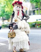 Harajuku Fashion w/ Shironuri Makeup, Feathered Tassel Hat, Maniac Lace Jacket, Gunne Sax Dress, Gothic Holic Fox Tail, Grimoire & Jeffrey Campbell Platforms