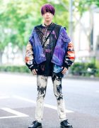 Graphic Print Streetwear in Harajuku w/ Cote Mer Denim Jacket, Printed Shirt, Tie Dyed Jeans, Silver Chains & Dr. Martens Shoes