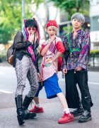 Tokyo Mens Street Styles w/ Hair Scarves, Snakeskin Pants, Vintage Baseball Jersey, Flamingo, Gosha Rubchinskiy, Yosuke & Dr. Martens