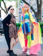 Harajuku Girls Street Fashion w/ Rainbow Hair Falls, Leopard Slip Dress, Fishnet Top, Mesh Cape, Furry Bralette, Rainbow Chains & Metallic Platform Shoes