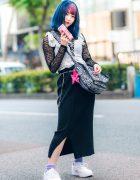 Harajuku Two-Tone Bob, Romantic Standard Lace Top, Baby Lone Ribbed Skirt, Faith Tokyo Furry Bag & Nike Sneakers