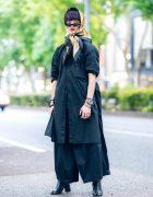 All Black Menswear Street Style w/ Silk Head Scarf, Purple Hair, Y-3 Shirt, Notch, Hare, SAAD & Bella By Bella Tabi Boots