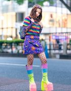 Harajuku Rainbow Street Fashion w/ Decora Hair Clips, Rainbow Shirt, Kobinai Celestial Print Dress, Rhinestone Mesh Top, Glitter Backpack & Demonia Platform Glitter Boots