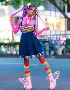 Rainbow Harajuku Street Style w/ Pink Purple Braids & Glitter Platform Butterfly Wing Boots