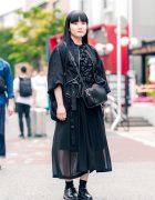 All Black Harajuku Street Style w/ Long Hair, Mame Accessories, Noir Kei Ninomiya Textured Blouse, Sheer Midi Skirt, Crossbody Bag & Lace-Up Shoes