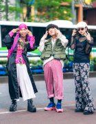 Harajuku Teen Trio Streetwear Styles w/ Head Scarf, Flat Dragon Robe, Mandarin Collar Shirt, Dog Harajuku, Issey Miyake Utility Vest, Gosha Rubchinskiy, Raf Simons, Net Shirt, Forever21 Flared Pants & Puma x Fenty Creepers
