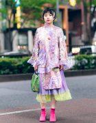 Harajuku Stylist Street Fashion w/ Streaked Bob, Kaoru Zhou Ruffle Coat, Beams Japan Bag & MM6 Maison Margiela Sock Boots