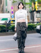 Harajuku Model's Monochrome Street Fashion w/ Crank Cropped Top, Rick Owens Drawstring Pants, Gum Metallic Wristlet, Tokyo Human Experiments & Pointy Boots
