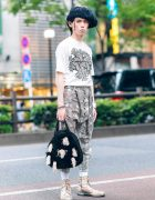 Christopher Nemeth Tokyo Street Style w/ Distressed Hat, Rope Print Shirt, Drop Crotch Pants, Tassel Bag & Mihara Yasuhiro Boots
