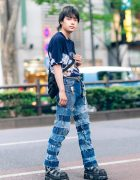 Men's Street Style in Harajuku w/ Chicago Graphic Print Shirt, Remake Levi's Fringed Patchwork Jeans, Nike Backpack & New Rock Strap Shoes