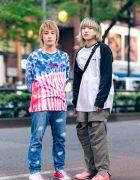 Casual Tokyo Streetwear Styles w/ Tie Dye Shirt, Tsumori Chisato Hand Painted Jeans, Stussy Raglan Shirt, Columbia Convertible Pants, Adidas & Facetasm x Converse Sneakers