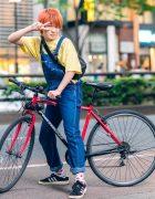 Harajuku Style w/ Orange Hair, Bicycle, Denim Overalls, Manhattan Portage Mesh Waist Bag & Adidas Campus Sneakers