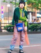 Eclectic Layered Street Fashion in Harajuku w/ Sailor Collar Jacket, Sheer Tiered Dress, Denim Pants, Sling Bag & Snakeskin Shoes