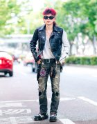 Edgy Monochrome Streetwear Style w/ Pink Hair, Skull Necklace, Lewis Leathers Motorcycle Jacket, Ripped Jeans, Denim Belt Bag & Two-Tone Boots