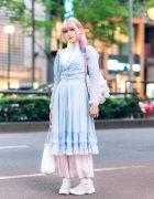 Harajuku Vintage Pastel Fashion w/ Pink Hair, Gunne Sax Ruffle Dress, Sheer Maxi Skirt, Gunifuni Sheepskin, &  Plushie Bag
