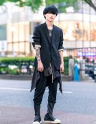 Rick Owens Menswear Street Style w/ Blunt Bob, Blazer w/ Rolled Sleeves, Plaid Shirt Tied Around Waist, Layered Necklaces, Tokyo Human Experiments Knuckle Rings & Mid-Calf Sneakers