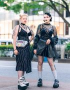 Tokyo Monochrome Streetwear Styles w/ Twin Blonde Buns, Disturbia Clothing Dress, Audrey And John Wad, Drug Honey, Romantic Standard Top, Listen Flavor & Out Of The World Platforms