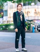 Tokyo Men's Street Style w/ Colored Hair, Skull Mask, Utility Vest, Graphic Shirt, Cuffed Pants, Casio Watch, Spinns & John Lawrence Sullivan Shoes