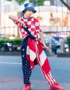 Japanese Dancer's Red, White & Blue Harajuku Street Style w/ Denim Bucket Hat, Tommy Hilfiger Jacket, Croatia Soccer Jersey, Stars & Stripes Pants, M&Ms Backpack & Ice Cream Sneakers