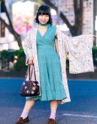 Tokyo Kimono Streetwear Style w/ Resale Floral Kimono, Neck Scarf, Tiered Dress, Gilli Leather Handbag & Oriental Traffic Pointy Loafers