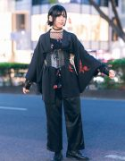 Vintage Kimono & Corset Japanese Street Style w/ Fringed Bob, Colored Contacts, Ruffle Earring, Tattoo Choker & Lace-Up Boots