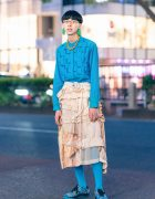 Tokyo  Menswear w/ Tassel Earrings, Wooden Bead Necklace, Textured Top, Comme des Garcons Tiered Skirt & Puma x Coogi Sneakers