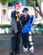 Japanese Streetwear Fashion w/ Twin Braids, AC/DC Shirt, Fringed Asymmetric Top, Faith Tokyo Flared Pants, Demonia, Kinji, Gallerie Track Pants & Puma Sneakers