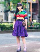 Harajuku Style w/ Purple Headband, Rainbow Shirt, Tiered Skirt, Glitter Chain Strap Bag & OK Platform Babydoll Glitter Shoes