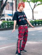 Red & Black Street Style in Harajuku w/ Red Hair, Kobinai Lips Print Shirt, Bershka Plaid Pants, Guess Belt, Braided Belt & Adidas Suede Sneakers