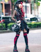 Gothic Red & Black Japanese Street Style w/ Leather Hat, Two Tone Hair, Hyper Core Jacket, Glavil, Brindle Rings, Killstar Bag, Rob Zombie Socks & Demonia Platforms