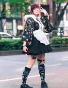 Japanese Kimono Street Style w/ Red Hair, Floral Headpiece, Cat Hair Mask, Resale Kimono, Ruffle Apron, Killstar, Glavil, Magarama & Suede Creepers