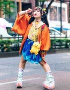 Colorful Harajuku Streetwear Style w/ Twin Tails, Decora Hair Clips, Resale Kimono, Dempagumi.inc Floral Top, Handkerchief Glitter Skirt, Ladybug Backpack & Yosuke Mint Platform Sneakers
