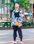 Japanese Streetwear Fashion w/ Floral Print Top, Remake Belt, Winnie The Pooh, Redbull & Adidas Sneakers