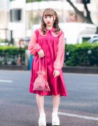Pink Harajuku Style w/ Curly Hairstyle, Candy Stripper Two-Tone Peter Pan Collar Dress, Alice on Wednesday Rings, Pink House Gingham Bag &a Yosuke Platforms