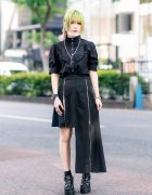 Japanese Idol's All Black Jamie ANK Street Style w/ Two-Tone Hair, Face Mask, Ruffle Blouse, Asymmetrical Skirt & Bubbles Tokyo Sandals
