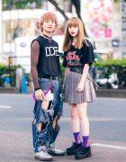 Harajuku Teen Styles w/ Dope Shirt, Mesh Sweatshirt, Ripped Jeans, Iron Maiden T-Shirt, Kinji, Spinns, Dinosaur Bag & John Lawrence Sullivan